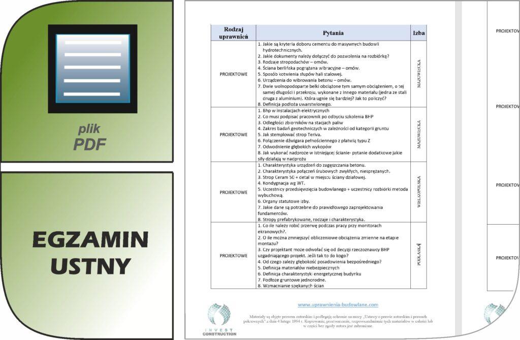 uprawnienia budowlane egzamin ustny pdf_cennik